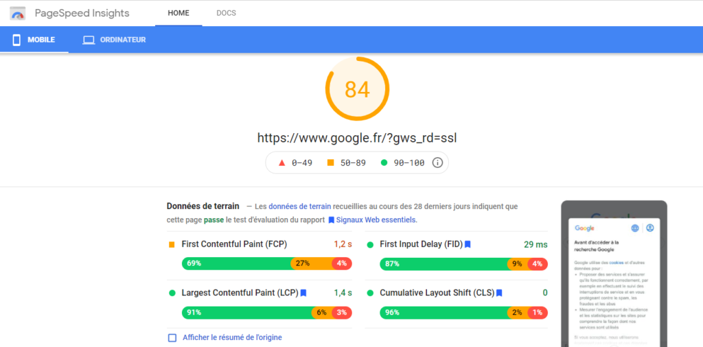 données page speed insight site internet